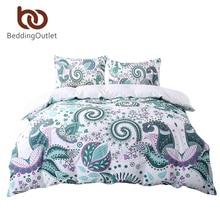 BeddingOutlet Green Bedding Set Twin Size Floral Paisley Duvet Cover with Pillowcase White 200TC Soft Bedclothes Bed Set 3 Pcs