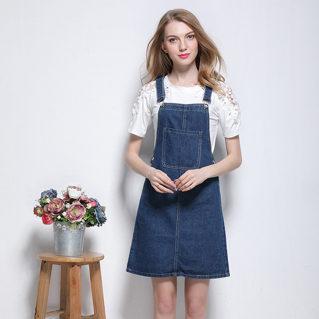 5a4688a1945 2017 women clothing solid color pockets slim washed denim overalls dresses  Female casual preppy style mini