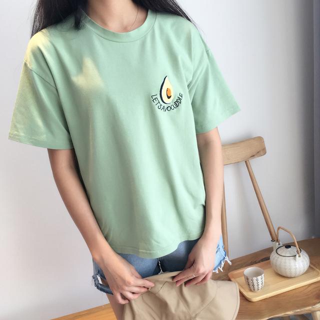 Embroidery Avocado T-shirt Female funny fruit Short Sleeve harajuku kawaii t shirt Women Tees Tops femme poleras Summer Cute