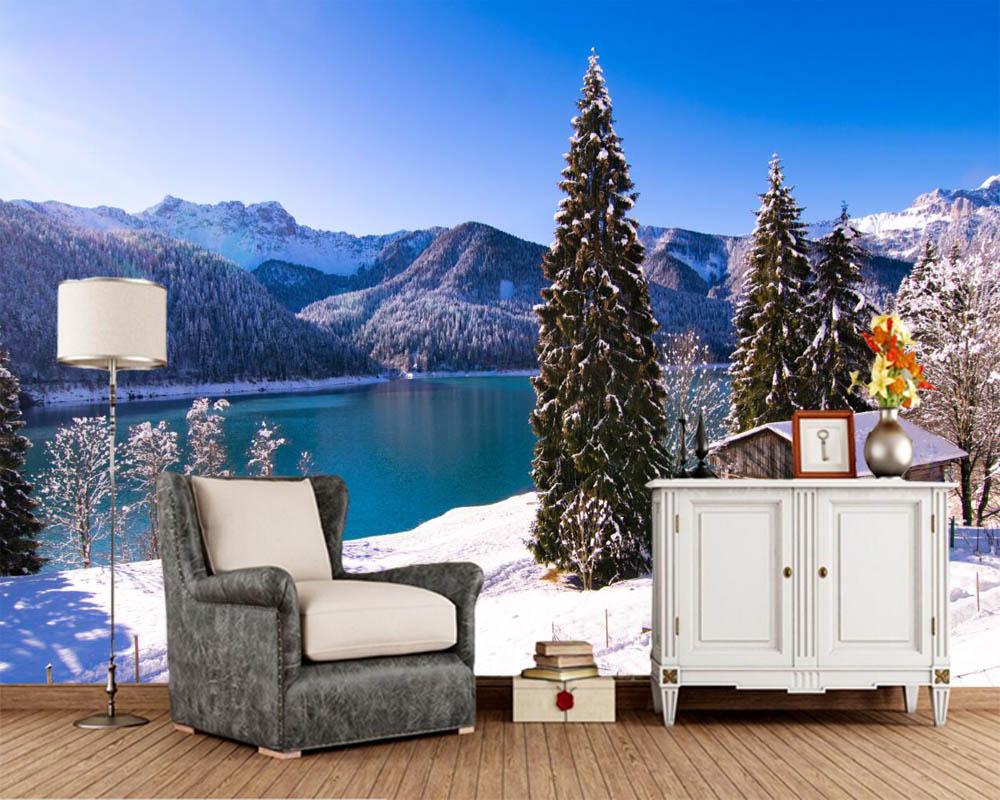 Papel デ Parede 湖山脈冬の家雪スプルース自然壁紙 リビングルームの