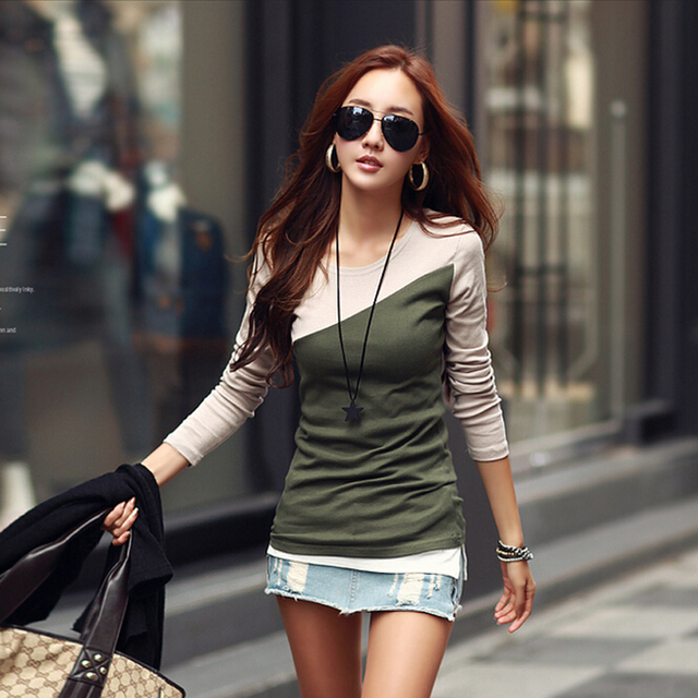poleras de mujer t shirt women tshirt 2016 fashion womens long sleeve tops  tee shirt femme cotton t-shirt casual camisetas mujer 05b0345bd9b4