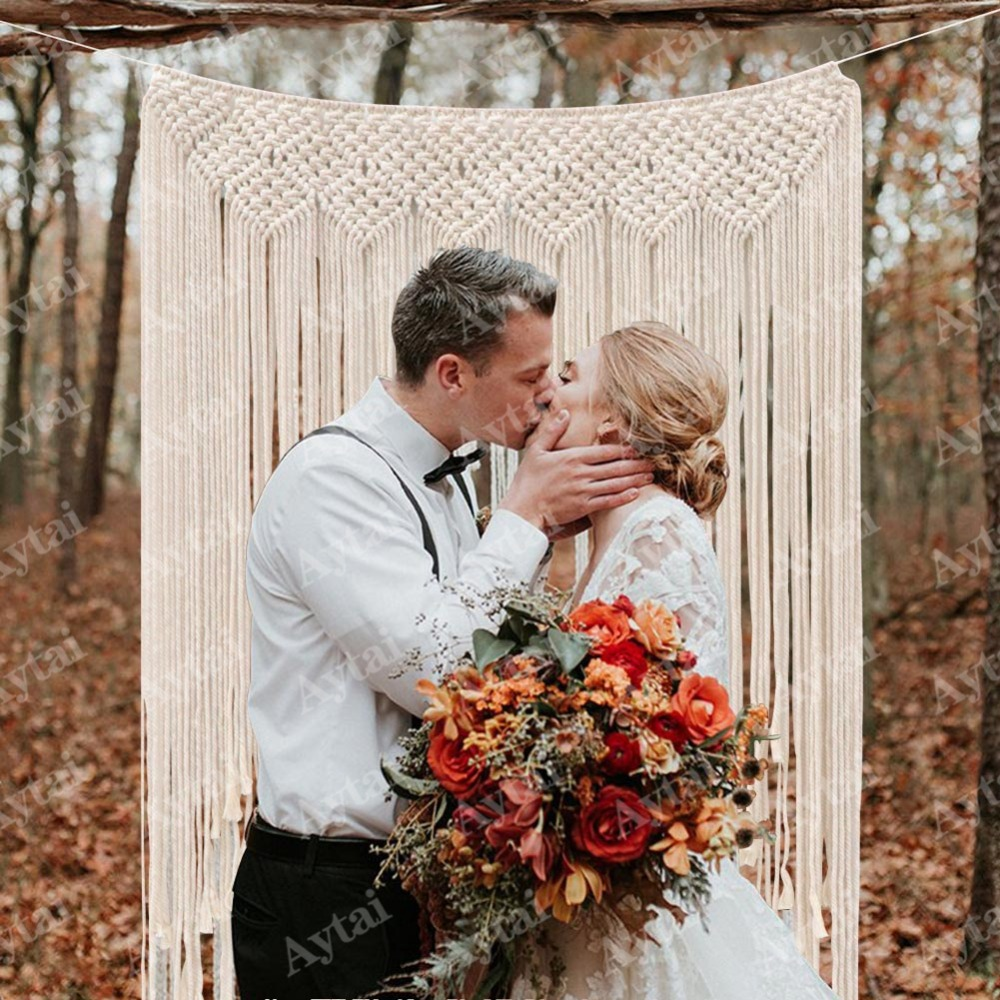 wedding : OurWarm Wedding DIY Bohemian Photo Backdrop Indoor or Outdoor Decoration Fringe Garland Banner Home Party Supplies Romantic