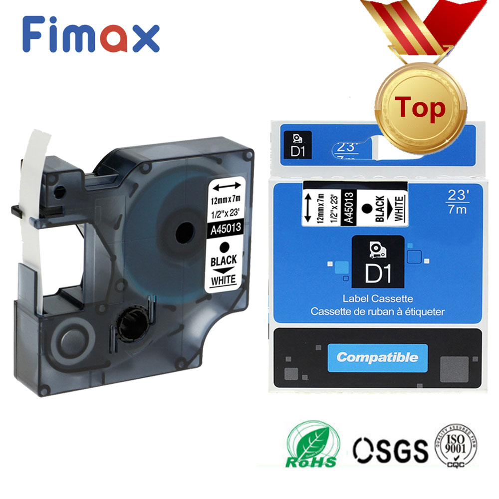Fimax Compatible for Dymo D1 Label Printer Ribbon Tape 45013 12mm 45012 45010 45018 for DYMO Label Maker Label Printers ManagerFimax Compatible for Dymo D1 Label Printer Ribbon Tape 45013 12mm 45012 45010 45018 for DYMO Label Maker Label Printers Manager