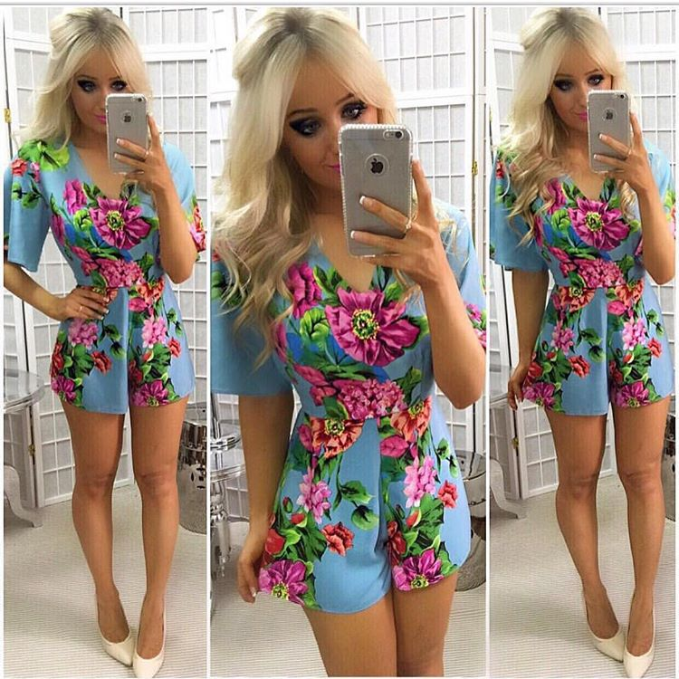 1295cdf196 Elegant Red Floral Print Playsuits Women Boho Autumn Blue Sexy V Neck  Jumpsuits Rompers Sexy Beach Lady Short One Piece Overalls