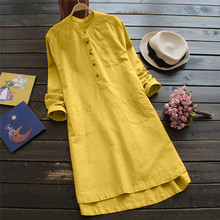 Spring Dress Women Retro Long Sleeve Casual Loose Button Tops Blouse Mini Shirt Dress Fashion Vintage Loose Dress