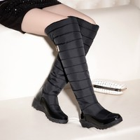 Russia Winter Boots Women Warm Knee High Boots Round Toe Down Fur Ladies Fashion Thigh Snow Boots Shoes Waterproof Botas889