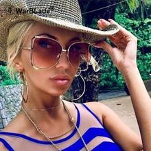 Oversize solbriller Kvinder mærke nuancer halv runde Luksus Brand Design Vintage Gradient Brun Solbriller Kvinde 2018 trendy glas