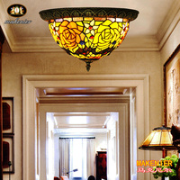 Makenier Vintage Tiffany Style Stained Glass Rose Flower Flush Mount Ceiling Lamp, 12 Inches Lampshade