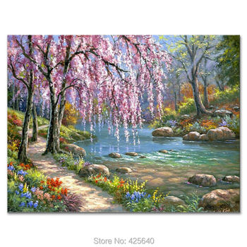 Hand-painted Mediterranean garden landscape painting for the sitting room decorates a wall pictures painted on the canvas art 02