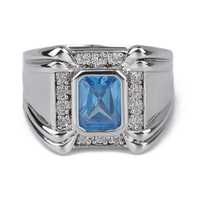 Men Jewelry 925 Sterling Silver Ring Heavy Rhodium Plated Broad Band 7x9mm Sky Blue CZ Engagement R128