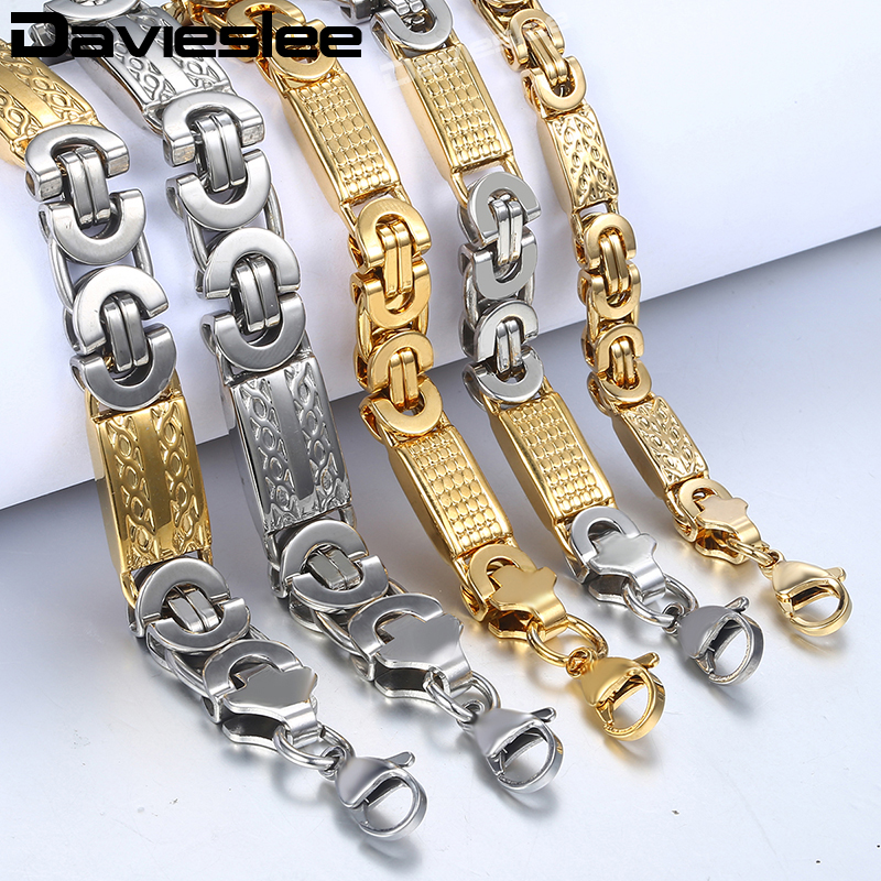 Davieslee Stainless Steel Chains Necklace for Men Silver Silver Gold Byzantine Mens Necklaces Fashion Jewelry 6/8/11mm DLKN277Davieslee Stainless Steel Chains Necklace for Men Silver Silver Gold Byzantine Mens Necklaces Fashion Jewelry 6/8/11mm DLKN277