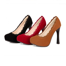 Fashion Vintage Round Toe High Heels Shoes Big Size 34-48