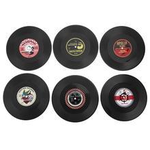 6 unids/set posavasos Vintage CD vinilo registro bebida mantel Copa resistente al calor taza de café almohadilla alfombrilla de mesa posavasos