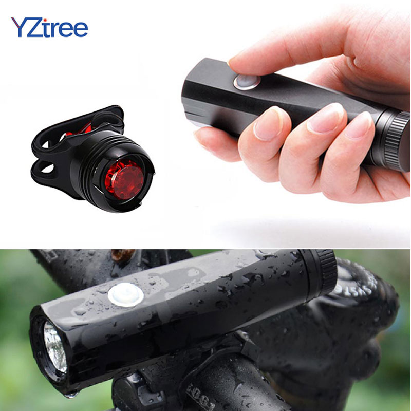 YZtree USB Rechargeable Bicycle LED Flashlight Torch T6 5 Mode Waterproof Front Handlebar Cycling Led Light Tail light Bike Set 5 led 3 mode red light bicycle tail light 2 x aaa