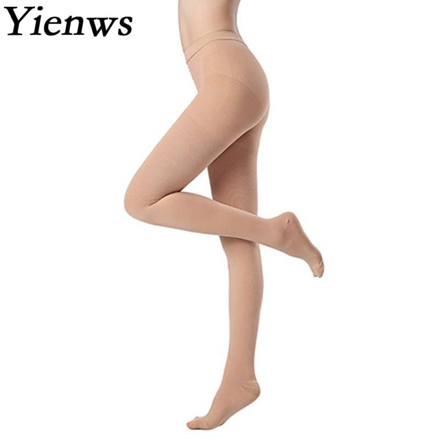 Yienws Medical Compression Stocking Women 25 30 mmHg Varicose Veins Open Toe Stockings Thigh High Compression Pantyhose YiG039
