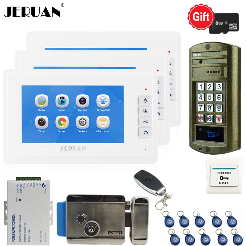 JERUAN 7`` LCD Video Doorbell Voice/Video Recording Intercom System kit 3 monitors + Waterproof password Access Mini Camera 1V3 jeruan 7 lcd video doorbell voice video recording intercom system kit 2 monitors waterproof password access mini camera 1v2