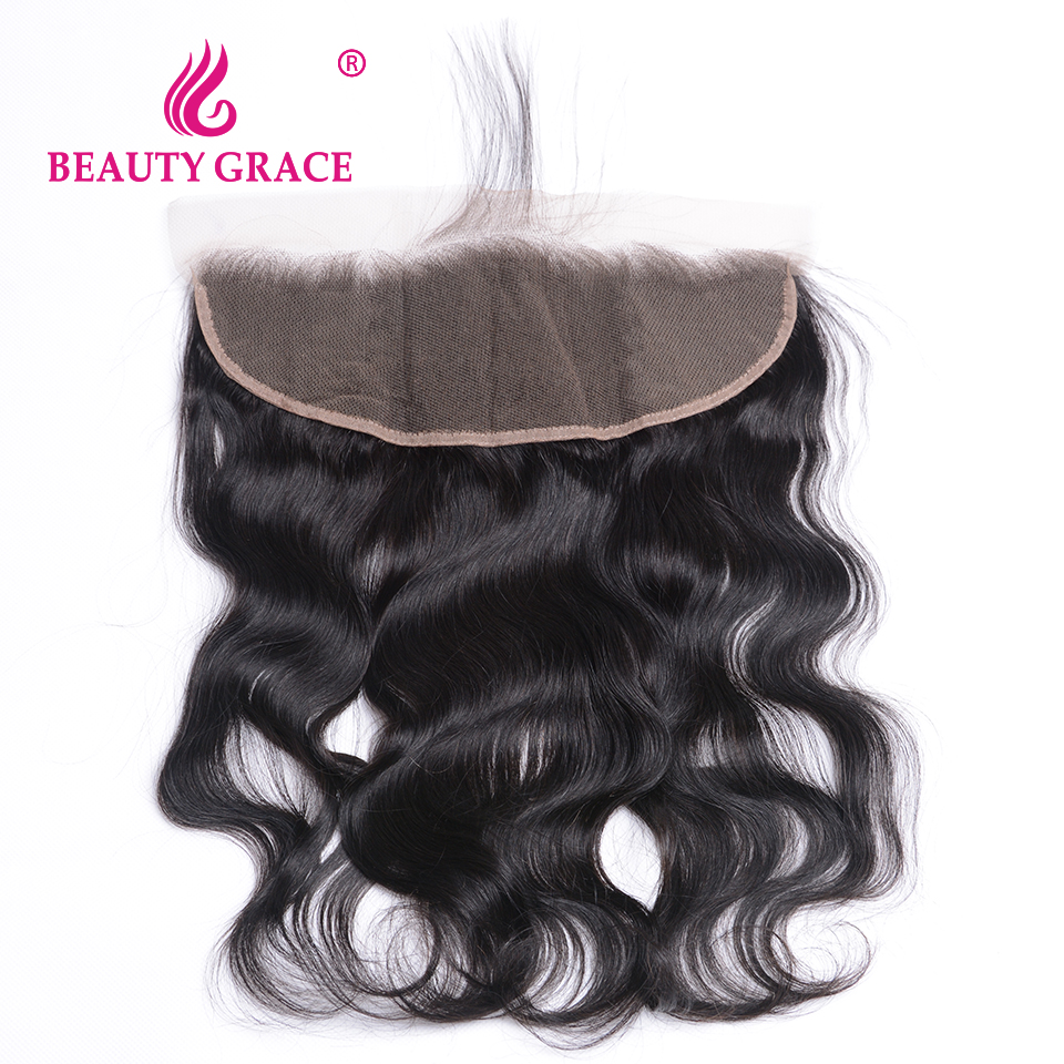 Beauty Grace Brazilian Body Wave 13x4 Ear To Ear Pre Plucked Lace Frontal Closure With font