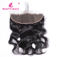 Beauty Grace Brazilian Body Wave 13×4 Ear To Ear Pre Plucked Lace Frontal Closure With Baby Hair Remy Human Hair Free Part