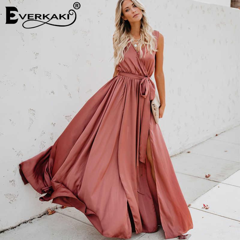 c6ae4231bdf9 ... Miguofan Dress Boho Vintage Solid V-neck Sleeveless Long Party Dress  Female Elegant Split Empire ...