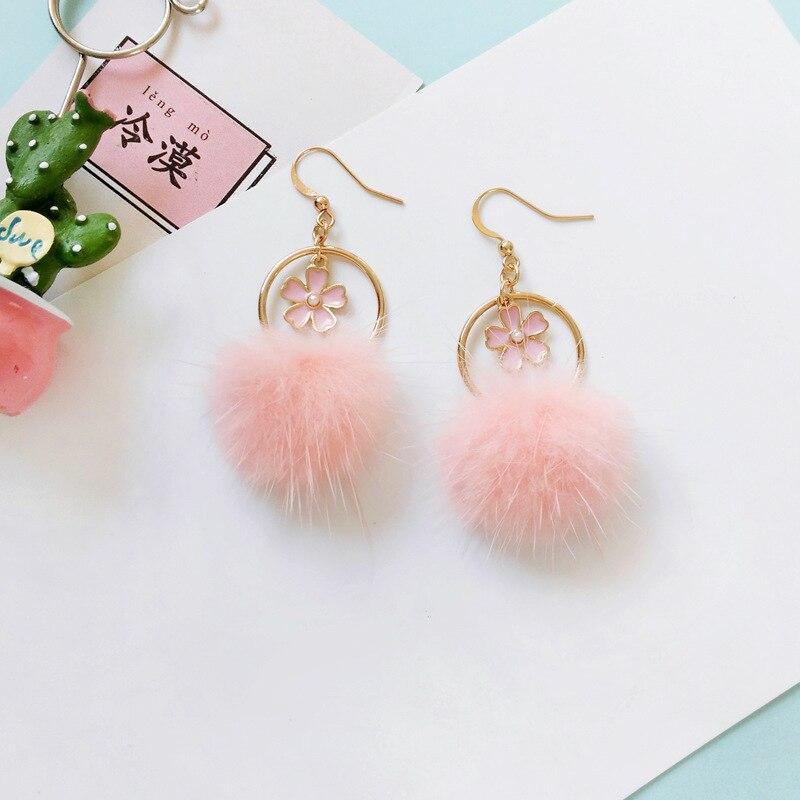 c336c6de3 Korean Pink Faux Fur pompons Ball Clip On Earring Fake Fur Pom Poms Ball  Clip Earrings No Hole flower CircleRound Earrings-in Clip Earrings from  Jewelry ...