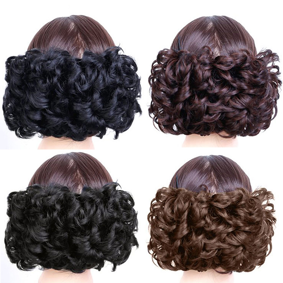 DIFEI Womens Elastic Net Curly Chignon With Hair Bun Extension Black Brown Hair Extension With Elastic Combs Clip in Hairpiece