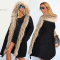 Women Winter Warm Faux Fur Hooded Open Front Fleece Parka Coat Overcoat