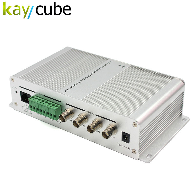 4 Channel Active Power Video Balun Transmission 4Ch Active Video Transmitter Utp Video Balun Hub Twisted Pair Female BNC Keycube
