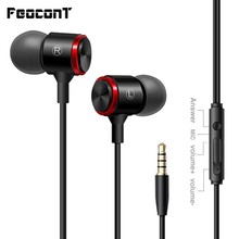 3.5mm Wired Earphones Sports Headsets With Built-in Microphone  In-Ear In-line Control Hands-free Mic For Smartphones