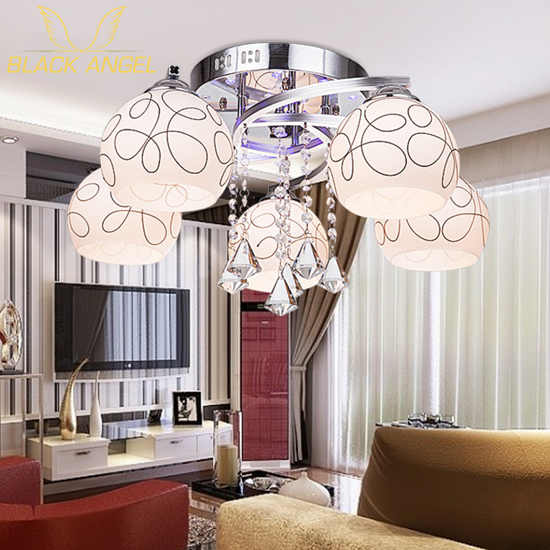 ФОТО Indoor LED Ceiling Light for restaurant hall decoration modern crystal pendents lamp lustres de sala glass lampshade indoor lamp