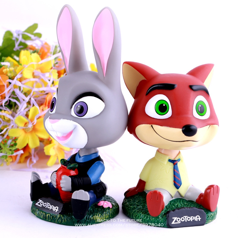 Disney Zootopia Rabbit Judy Hopps Bobble Head 13cm toys Action Figure Doll Toy Zootopia Figure Toys model Cop Fox Nick Cartoon image