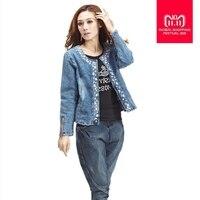 Plus Size 4XL jeans jacket women Denim Patchwork Outwear Jeans Coat For Women Retro Long sleeved Jeans Rivets Jacket W493