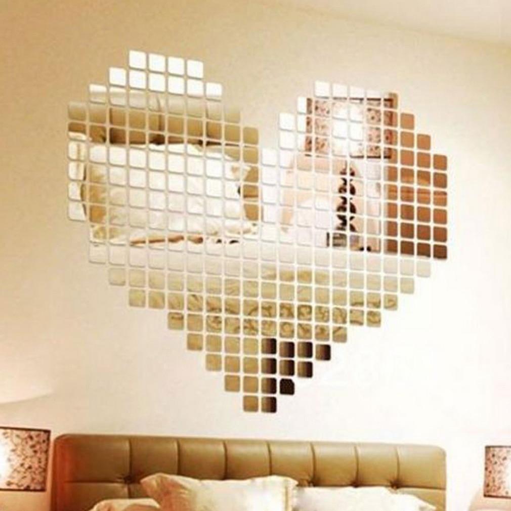 100 Piece Mirror Tile Wall Sticker 3D Decal Mosaic Room Decor Stick ...
