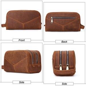 Image 3 - Trousse de toilette en cuir véritable vintage en cuir véritable pour hommes, sac de maquillage de voyage, sac de toilette à main