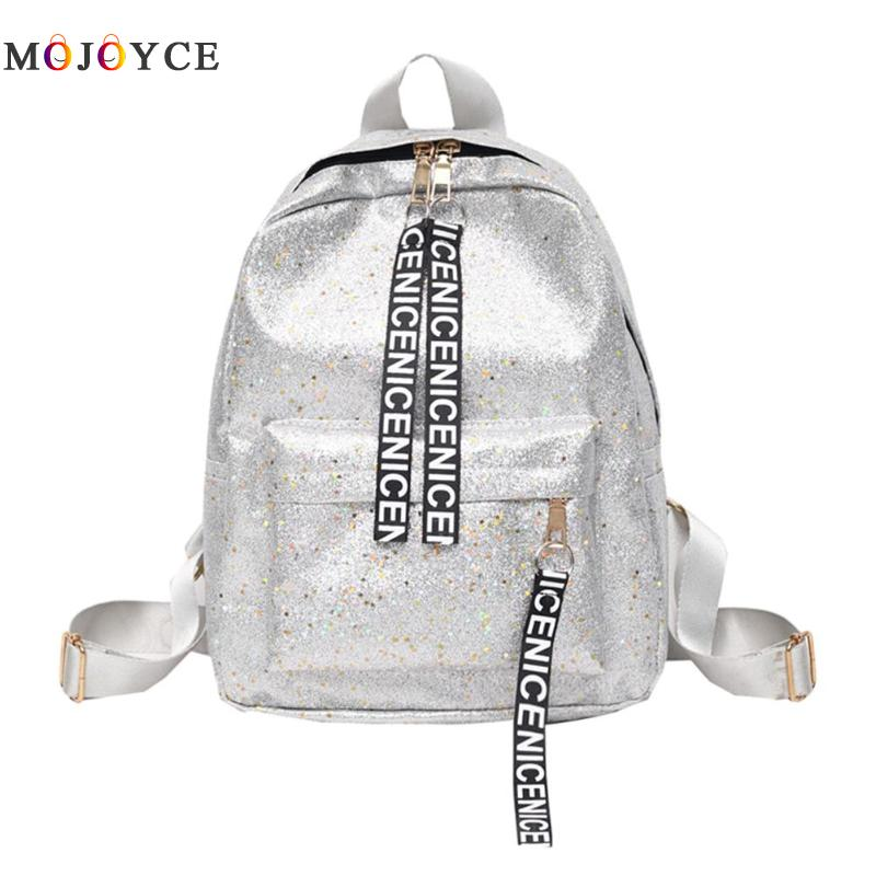 Bling Bling Pu Leather Backpack Women Girls Letters Strap Zipper Travel Back Pack  Mochila Feminina Sac A Dos Femme