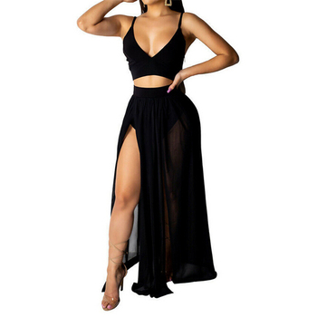Summer 2 Piece Set Women Sexy Outfits Sleeveless Crop Top Maxi Skirt Clothes For Clothing Beach Two Sets