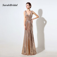 Rose Gold Sequined Bridesmaid Dresses Deep V Neck 2016 Fashionable Sleeveless A Line Prom Gowns Vestidos