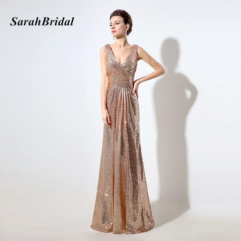 Gold Bridesmaid Dresses: Cheap Rose Gold Sequin Bridesmaid Dresses Long 2017 Deep V