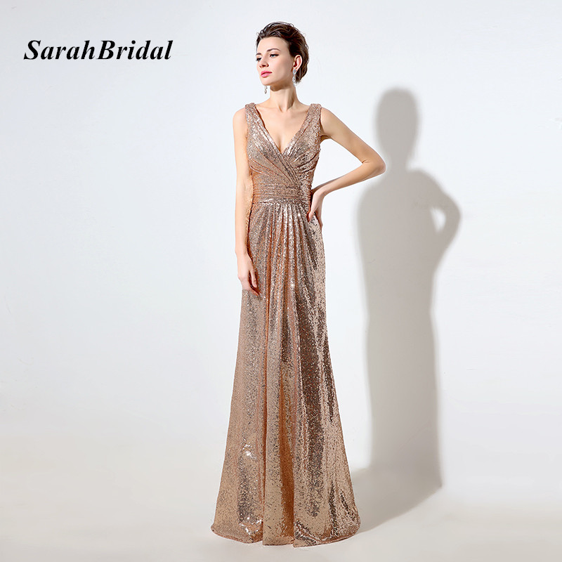 Cheap Rose Gold Sequin Bridesmaid Dresses Long 2017 Deep V-Neck Sparkly Gala Dress V Back Wedding Guest Gowns In Stock SD326