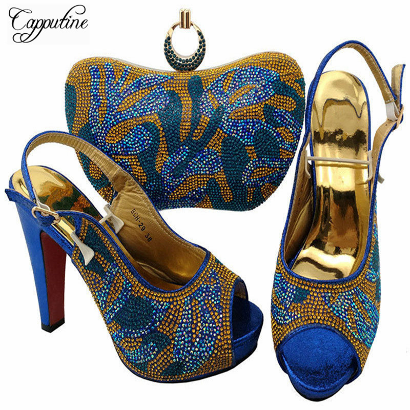 Capputine Fashion African Style Rhinestone Royal Blue Woman Shoes And Bag Set Italian Shoes And Bag Set For Party Dress BCH-29 capputine high quality fashion rhinestone shoes and bag set italian style woman shoes and bag set for party dress mm10441