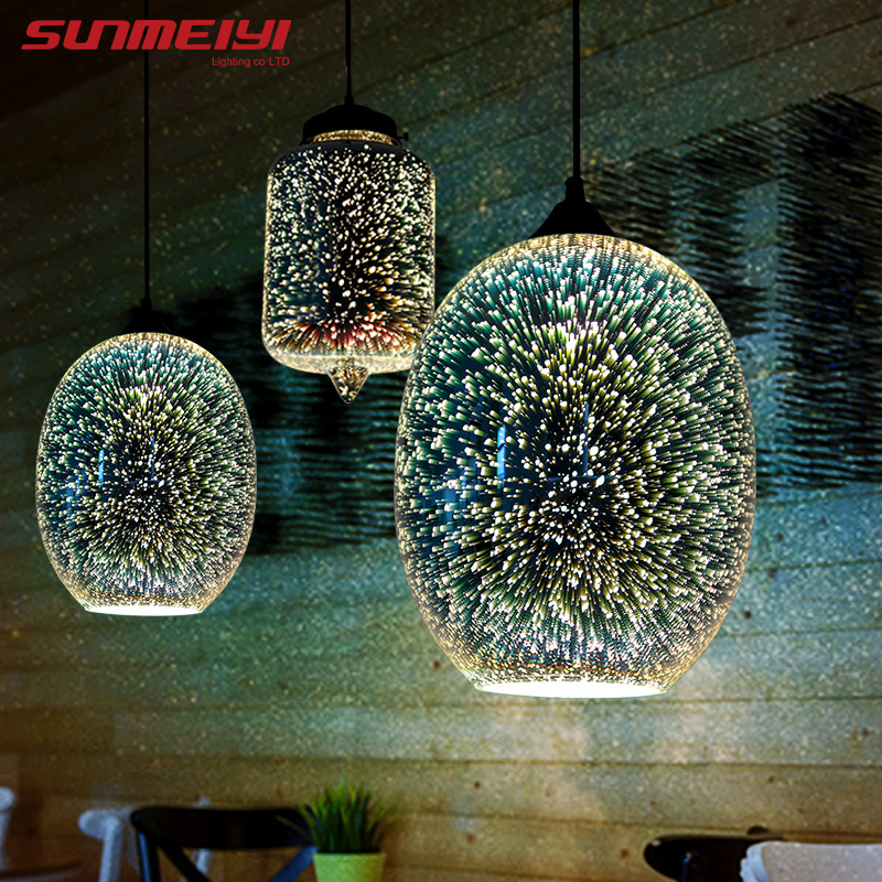 Shiny 3D LED Pendant Lights Lustre Pendente For Bar Living Room Kitchen Modern Glass Industrial Lamp Decoracao Para Casa