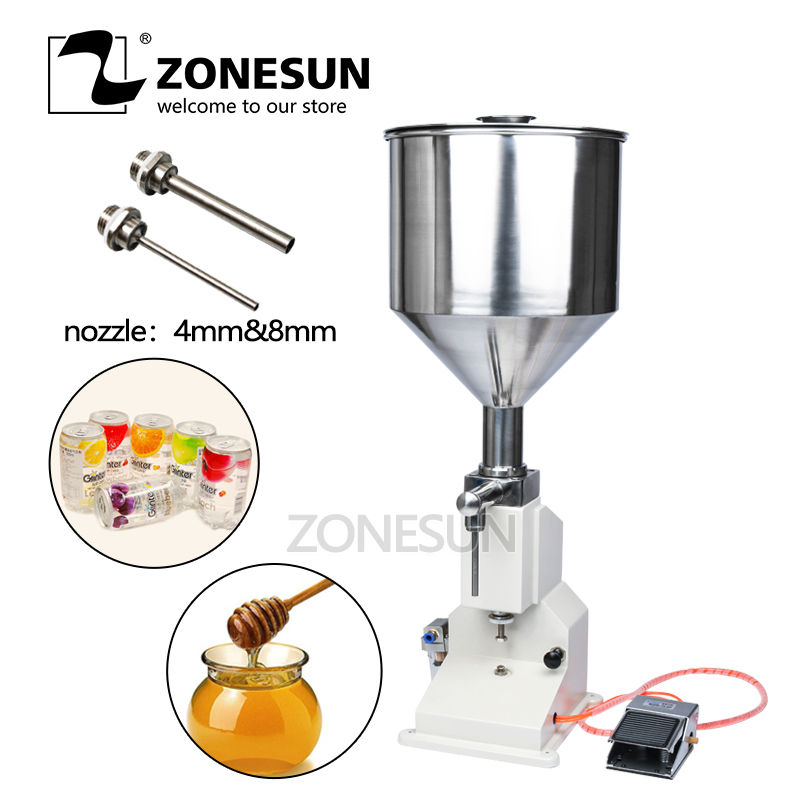 ZONESUN A02 Pneumatic Filling Machine Stainless Steel Arequipe Paste Liquid Filling Machine 5-50ml Cream Food Paste Honey