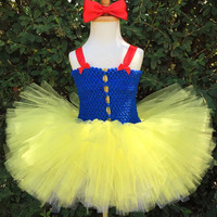 Snow White Cosplay Tutu Dresses for Girls Party Princess Dress Children's Tulle Dress with Headband Baby Girl Tutu Dress Infant