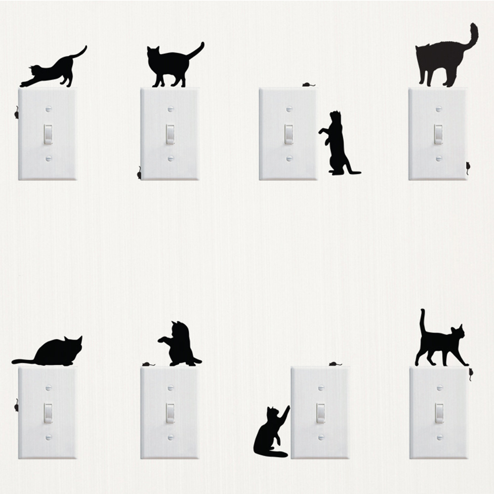 % diy Switch Panel Sticker Removable Cute Lovely Black Cat Switch Wall Sticker Vinyl Decal Home Decor Decal Kids room Bathroom