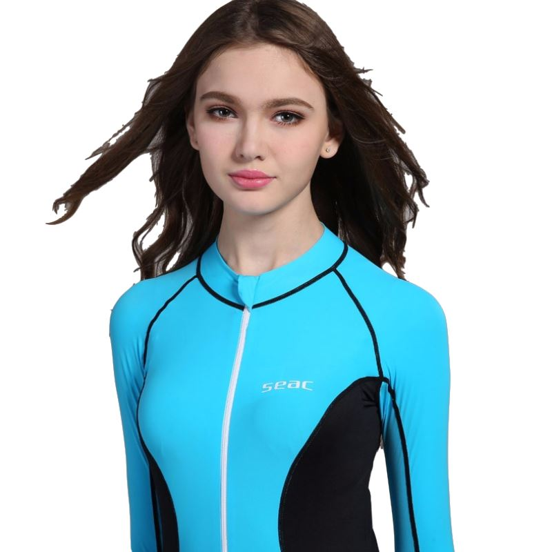 d5df2cab2758 One Piece Women Dive Surf Snorkel Swim Wet Suit Swimsuit Rashguard Swimwear Long  sleeve Beach Wetsuit Spearfishing Rash Guard-in Wetsuit from Sports ...