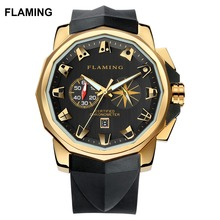 FLAMING Hero Series Luxury 2 Models ADMIRAL'S CUP Miyota Chronograph Watches Men Super Gold Wristwatches Gifts
