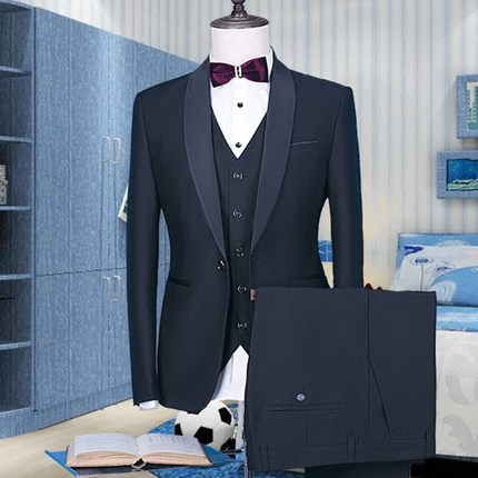 2018 New Black blazer Groomsmen Suits Slim Fit Mens Wedding Dress Prom Dinner Suit Groom ...