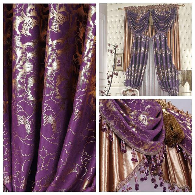 Flower Quality The Blind Purple Luxury Clical Clic Rustic Balcony Print Shade Cloth Curtain Customize Blinds Tulle