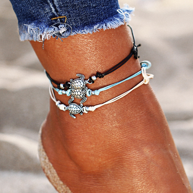 17KM Vintage Multiple Layers Anklets for Women Bohemian Retro Turtle Rope Anklet Sexy Beach Bracelet Chain Animal Foot Jewelry 1