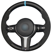 Hand sewing custom Black Leather Suede Car Steering Wheel Cover for BMW G30 530i 540i 520d 530e 2016-2018 G32 630i 630d