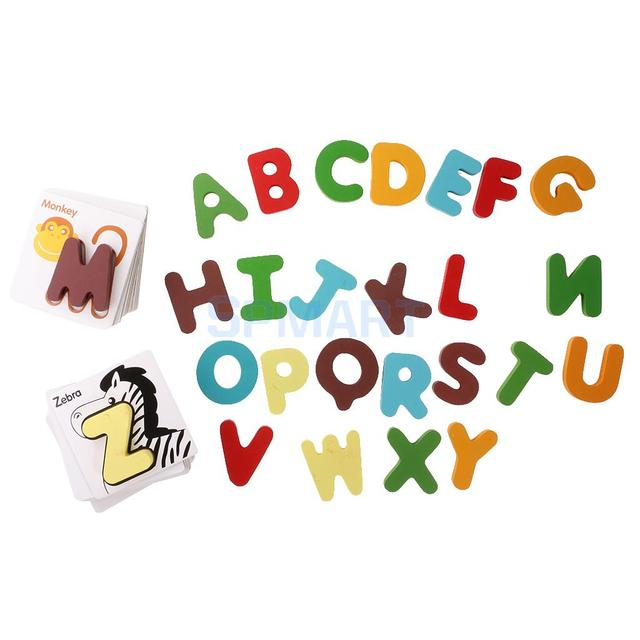 Wooden Early Education Baby Preschool Learning ABC Alphabet Letter Cards Cognitive Toys Animal Puzzles